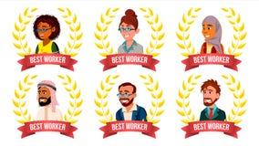 Najlepszy pracownika pracownika Ustalony wektor Mężczyzna, kobieta Arab, turecczyzna, europejczyk, Afro amerykanin Nagroda rok Zł Fotografia Stock