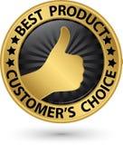 Najlepszy produktu klienta ` s wyborowy złoty znak z kciukiem up, wektor Fotografia Stock