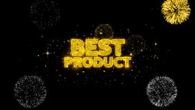 Najlepszy produktu złoty tekst mruga cząsteczki z złotym fajerwerku pokazem