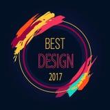 Najlepszy 2017 projekta ramy granicy sztuki Round muśnięcie ilustracja wektor