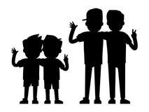 Najlepszy przyjaciel sylwetki odizolowywać na białym tle - chłopiec i nastolatek chłopiec czernią sylwetki royalty ilustracja