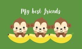 Najlepszy przyjaciele z ślicznymi małpami Szczęśliwa dżungli zwierzęcia kreskówka ilustracja wektor