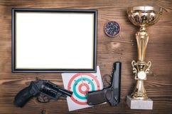 Najlepszy strzelającego dyplom Najpierw miejsce zwycięzca w strzelaninie obraz royalty free