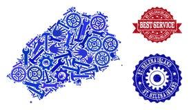 Najlepszy Usługowy kolaż mapa Świątobliwa Helena wyspa i Drapający znaczki royalty ilustracja
