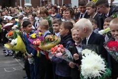 najpierw dzwoni Wrzesień 1, wiedza dzień w rosjanin szkole Dzień wiedza pierwszy dzień szkoły Fotografia Royalty Free