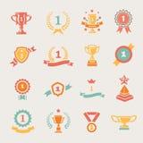 Najpierw miejsce odznaki i zwycięzców faborki wektorowi ilustracji