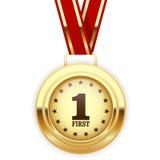 Najpierw miejsce zwycięzcy złoty medal Zdjęcia Stock