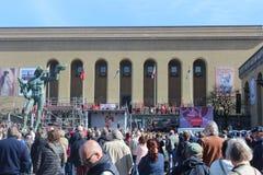 Najpierw mogą świętowania w Gothenburg, Szwecja, ogólnospołeczni demokrata, tłoczą się, polityczny zgromadzenie Zdjęcie Stock