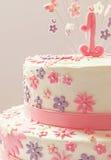 najpierw tort urodzinowy Zdjęcia Royalty Free