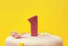 najpierw tort urodzinowy Zdjęcia Stock