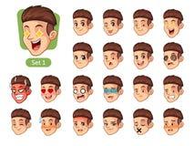 Najpierw ustawiam męskie twarzowe emocje z czerwonym włosy Fotografia Stock