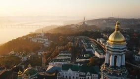 Najwięcej inetersting miejsc Kiyv Ukraina kiev lavra pechersk Powietrzny trutnia materiał filmowy Widok jeździec Dnipro i zbiory