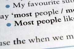 Najwięcej ludzi zwrota w Angielskim podręczniku obrazy stock