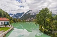 Najwięcej na soci miasteczka, Slovenia Obrazy Stock