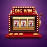 Najwyższej wygrany szczeliny kasyna maszyna Wektoru jeden ręki bandyta ilustracji