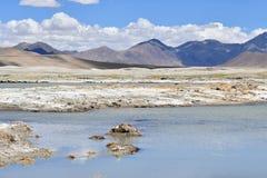 Сильно соляной Nak Ruldan озера около деревни Yakra в Тибете, Китае стоковая фотография