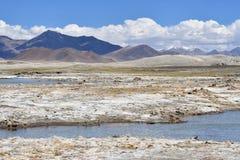 Сильно соляной Nak Ruldan озера около деревни Yakra в Тибете, Китае стоковое фото