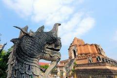 Naka and Big stupa at Wat Jedi Luang Royalty Free Stock Photo