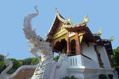Naka due accanto alla scala del tempio fotografia stock libera da diritti