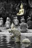 Naka en het standbeeld van Boedha Royalty-vrije Stock Fotografie