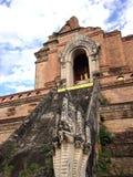 Naka stairs and antique pagoda at WatPrasingha Stock Photo