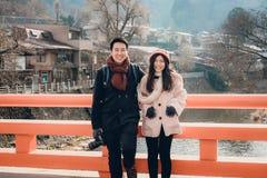 Nakabashi桥梁在高山市老镇,日本 库存照片