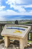 Information sign on the Agaiteida bridge which means East Sun on the Hanta road near the North Nakagusuku Castle in Okinawa Island. Nakagusuku, Japan - September stock photography