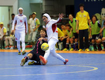 NAKAJIMA Shiori of Japan (L) and ETEDADI Fatemeh of Iran fight for the ball Stock Image