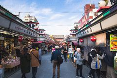 Nakamise购物街道 免版税库存照片