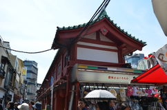 Nakamise-dori with its shops, Sensō-ji temple. Nakamise-dori with its shops,Many tourists, both Japanese and from abroad, visit Sensō-ji every year. Catering stock photo