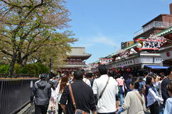 Nakamise-dori with its shops, Sensō-ji temple. Nakamise-dori with its shops,Many tourists, both Japanese and from abroad, visit Sensō-ji every year. Catering stock image