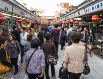 Nakamise dori shopping street. In Asakusa, Tokyo leading to Senso-ji temple Stock Photography