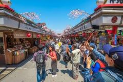 Nakamise Dori spring sakura Royalty Free Stock Photography