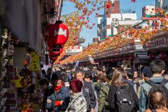 Nakamise shopping street in Asakusa connect to Senso-ji Temple. TOKYO, JAPAN - Nov 16, 2017:  Nakamise shopping street in Asakusa connect to Senso-ji Temple in Stock Images