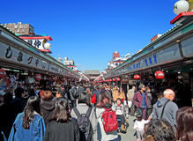 Nakamise Street in Asakusa, Tokyo. Nakamise-dori, a street selling arts, crafts and souvenirs located between the two entrance gates of Senso-ji Temple in Stock Photos