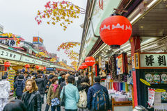 Nakamise street is the famous street market in Asakusa District Stock Photography