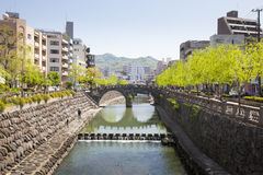 Nakashima River and Spectacles Bridge in Nagasaki Stock Photography