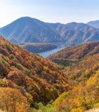 Nakatsugawa gorge from view point Azuma lake line. At Urabandai Fukushima in autumn fall Japan Royalty Free Stock Photo