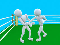Nakaut in the boxing ring. 3d - illustration person in the boxing ring carried the fight. The moment the scene after the impact Royalty Free Stock Images