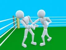 Nakaut in de boksring Royalty-vrije Stock Afbeeldingen