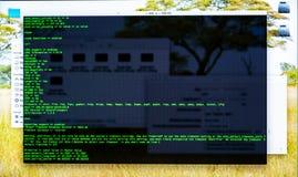 Nakazowy kreskowy interfejs na desktop Pojęcie programista, s praca « Informaci linii przepływ fotografia stock