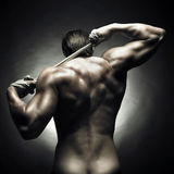 Naked athlete. Poto of naked athlete with strong body royalty free stock images