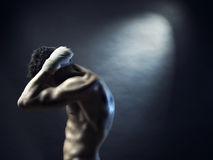 Naked athlete. Poto of naked athlete with strong body stock photography