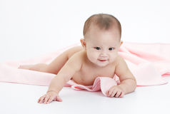 Naked baby. Cute baby without cloth, play alone happily Royalty Free Stock Photography