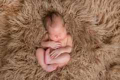 Naked baby sleeping on a pillow, topview Royalty Free Stock Image
