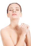 Naked beautiful woman. Torso, body part. Royalty Free Stock Photography