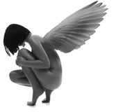 Naked beauty woman with wings Royalty Free Stock Image
