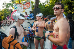 Naked bicycle race in Thessaloniki - Greece Stock Photos