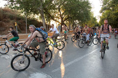 Naked bicycle race in Thessaloniki - Greece. THESSALONIKI, GREECE - JUN 7: Naked bicyclists throng the start of the annual parade on Jun 7, 2013 in Thessaloniki Stock Image