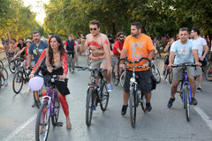 Naked bicycle race in Thessaloniki - Greece. THESSALONIKI, GREECE - JUN 7: Naked bicyclists throng the start of the annual parade on Jun 7, 2013 in Thessaloniki Stock Images